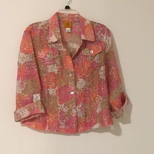 Ruby Road Sheer Floral Blouse